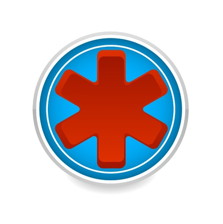 medic symbol red color on the blue circle