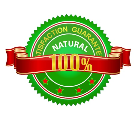 natural emblem guaranteed label sign green color Illustration