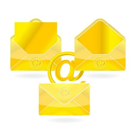 web message symbol gold color set Stock Photo - 10377776
