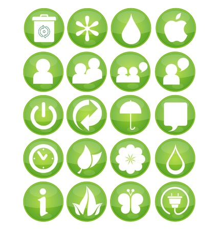 nature eco symbola set green color Stock Vector - 10401967