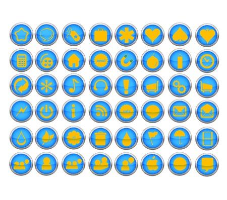 abstract web symbols set blue color Stock Vector - 10401969