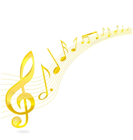 scores: abstract music key sign gold color isolated
