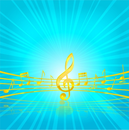 abstract music classic key gold color on the blue