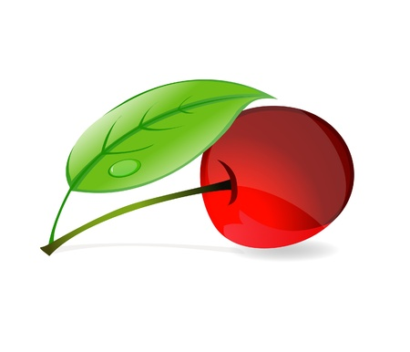 red cherry with green leafs symbol  Stock Vector - 10622503