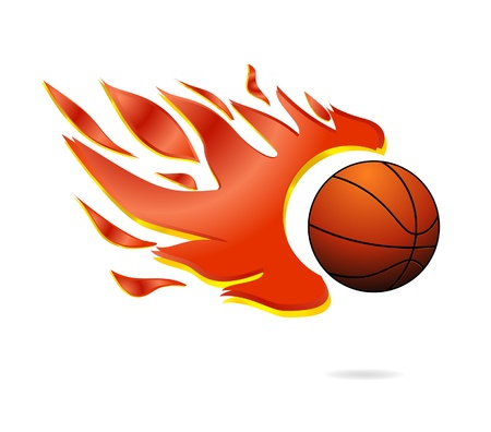 red fire and fly orange basketball ball sign