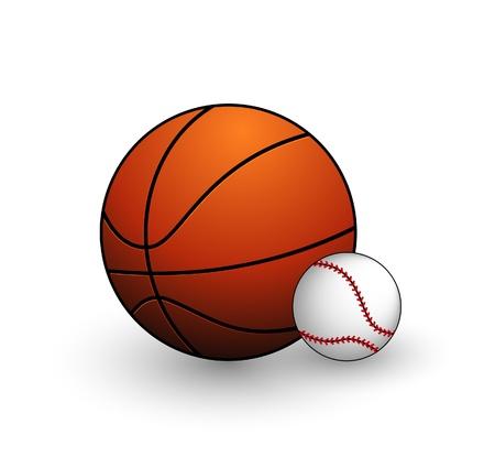 honkbal en basketbal ballen symbolen set Stock Illustratie