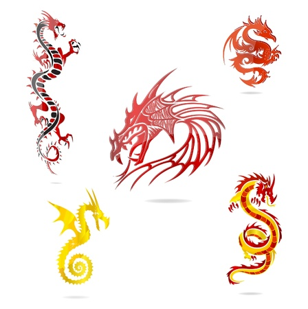 asia colored dragons sign set isolated Illustration