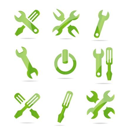 abstract industriële symbolen set groene kleur Stock Illustratie