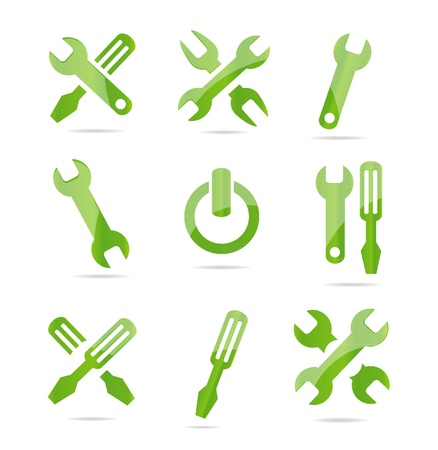 screwdrivers: abstract industrial symbols set green color