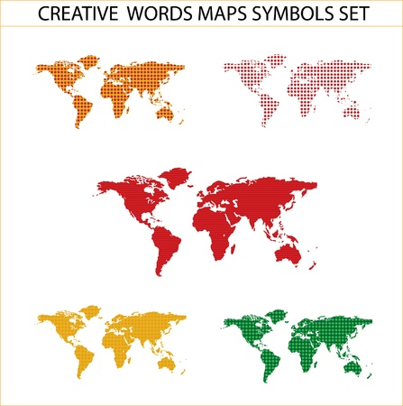 colored world maps set isolated on the white photo