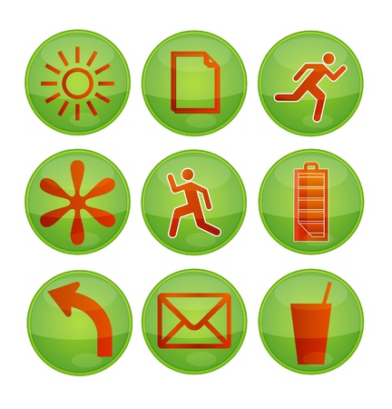 shiny eco green symbols set isolated