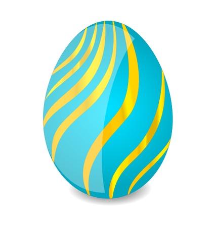 blauw en goud swirl easter egg teken Stock Illustratie