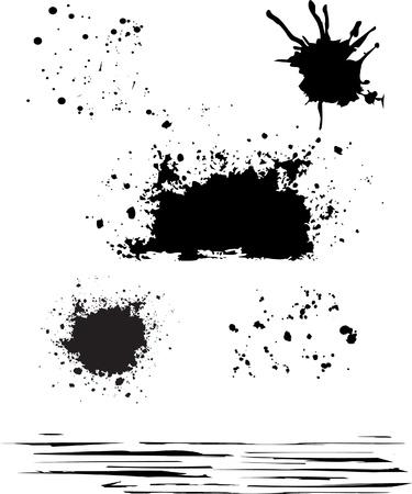 grunge blot set black color isolated