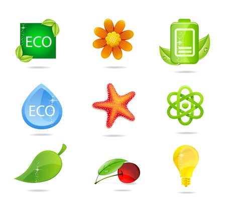 elegance nature symbols set green color Vector