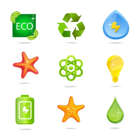 glass and green nature energy sign set Vector