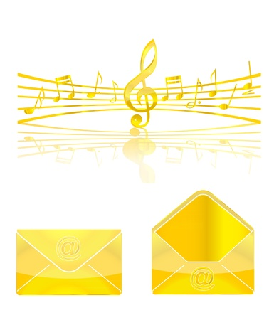 gold music and web elements set Stock Photo