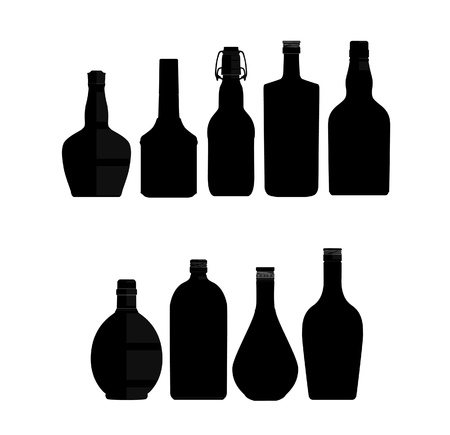 abstract bottles symbols set black color Vector