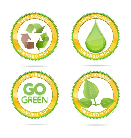 green nature eco emblems set isolated Stock Photo - 11586585