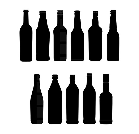 white wine: abstract bottle sign set black color