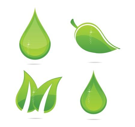 elegance eco leafs set green color Stock Vector - 12220452