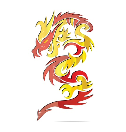 shiny asia fire dragon symbol Vector