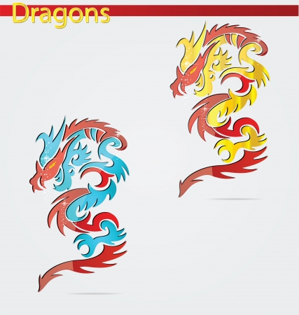 shiny and elegance religion dragon symbols Vector