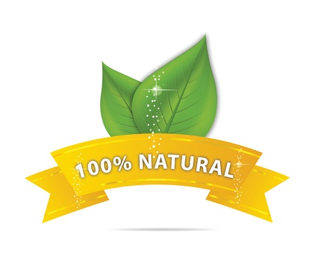 nature eco ribbon and leaf symbol Banque d'images