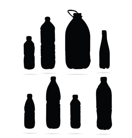 plastic flessen symbolen set zwarte kleur Stock Illustratie