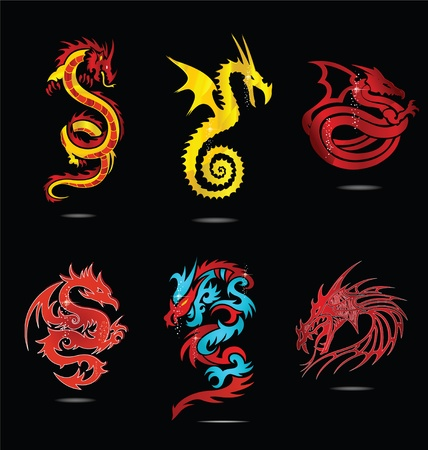 year of the dragon: abstract religion dragon symbols set isolated