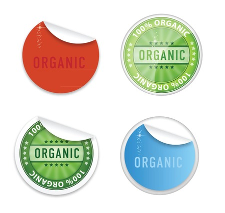 curl eco labels emblems symbols set Illustration