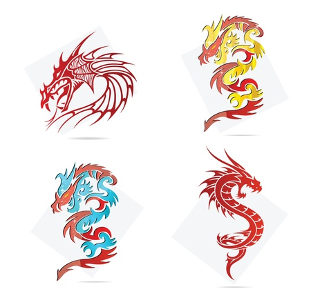glass creative elegance dragons  symbols set Vector