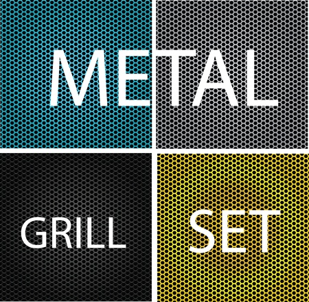 texture chrome metal grill set isolated Stock Vector - 12705236