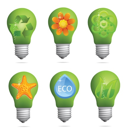abstract creative eco bulb sign set Stock Vector - 12776712