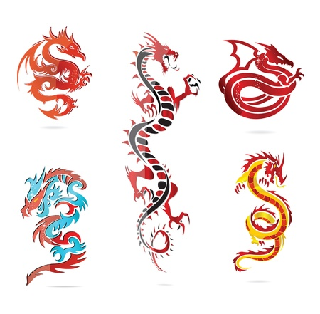 zodiac anger: glass asia hot dragon colored sign set
