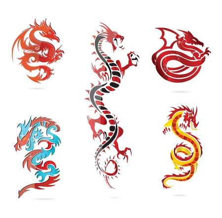 tatouage dragon: verre asie chaude de dragon ensemble signe de couleur