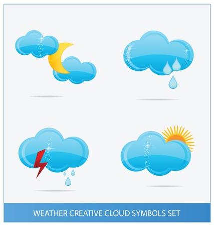 weather blue clouds symbols set Stock Vector - 13435911