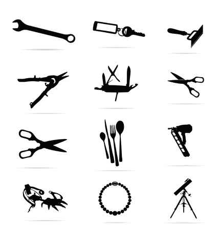black silhouettes of tools symbols set Vector