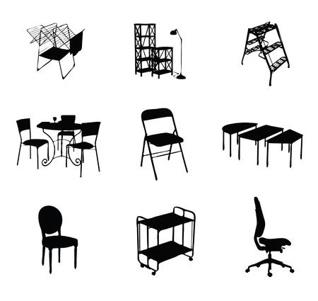 silhouetten van meubilair te stellen zwarte kleur Stock Illustratie