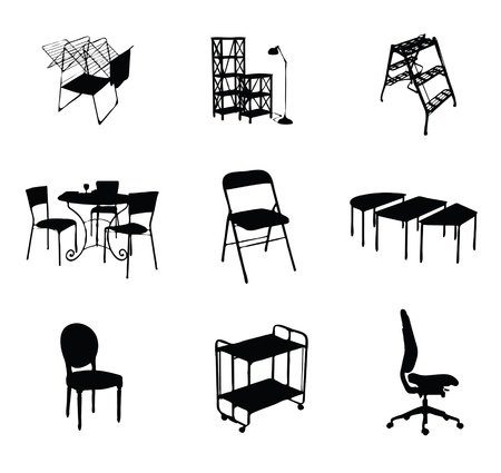 silhouettes of furniture set black color Vector