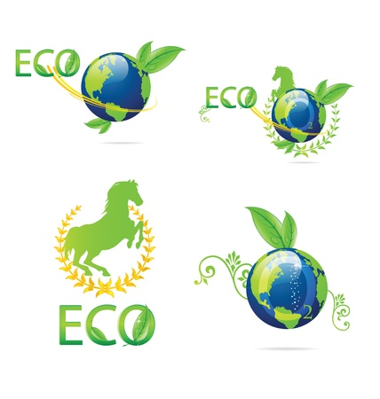 green eco earth sign set on the white Stock Vector - 13579610