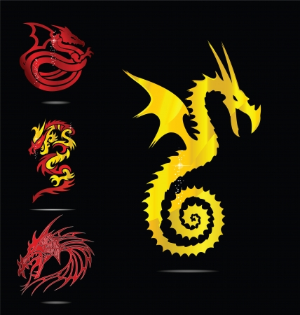 zodiac anger: gold and red dragons emblems set Illustration
