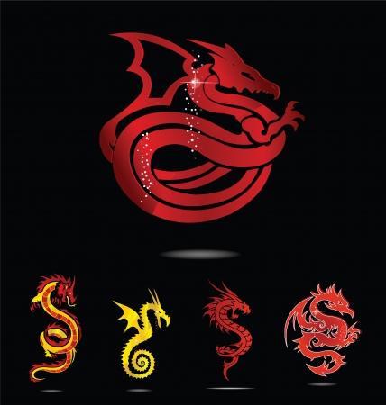 elegance asia dragon set isolated