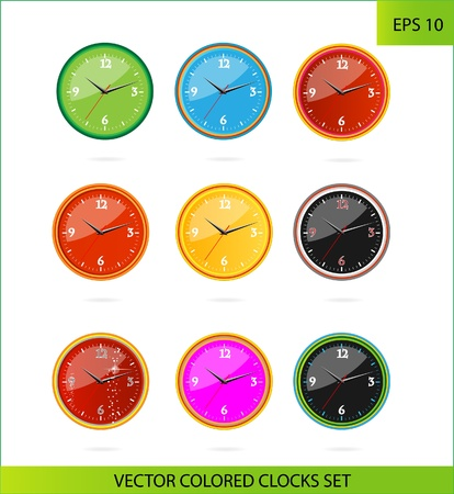 cretive colored clocks on the white Stock Vector - 13976417