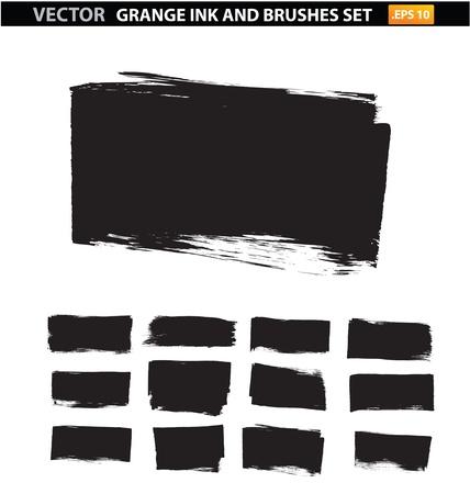 borstels splatter collectie vuil symbolen te stellen Stock Illustratie
