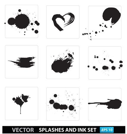 silhouet spat-en inktdruppeltjes collectie geà ¯ soleerd