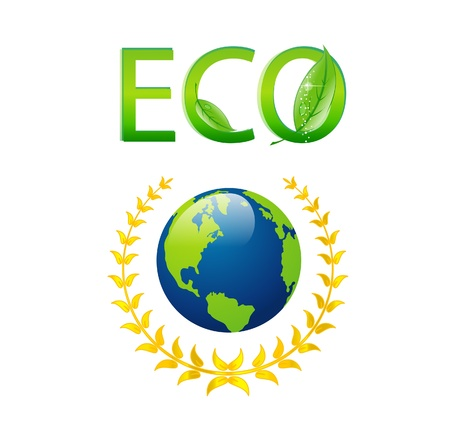 save eco earth symbol isolated on the white Stock Vector - 14117461