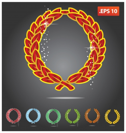 metal golden and colored heraldry symbols set Vector