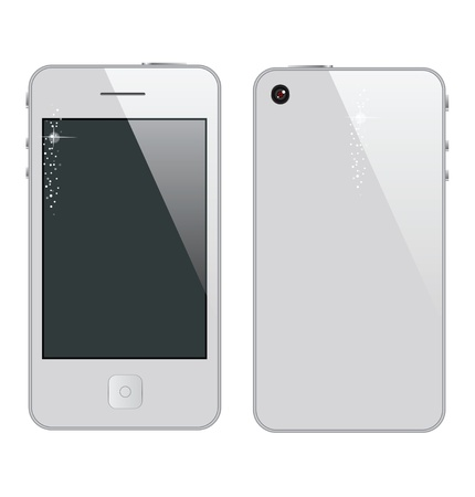 glass abstract phone symbol white color  isolated Vector