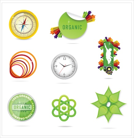 abstract nature creative ecology symbols set isolated Stock Vector - 14203866