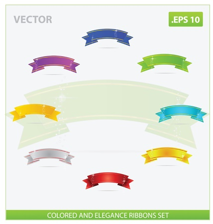 elegance and magic colored ribbons set isolated